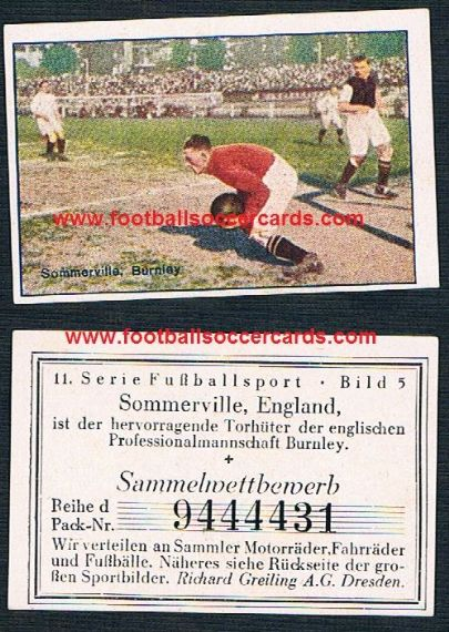 1920s Greiling BURNLEY Somerville colour card Fussballsport 5